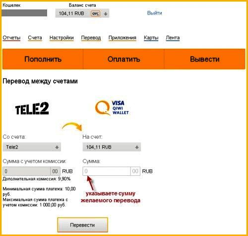 Каким образом перевести деньги с Теле2 на QIWI - форма для перевода