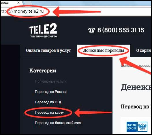 Перевод денег с Теле2 на карту Сбербанка через официальный сайт компании