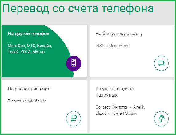 Перевести деньги через сайт Мегафона