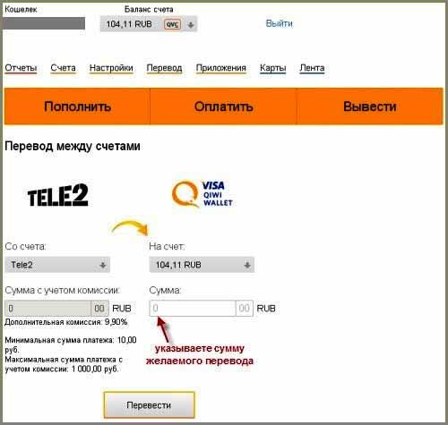 Перевести деньги с Яндекса на Qiwi через телефон - форма для перевода