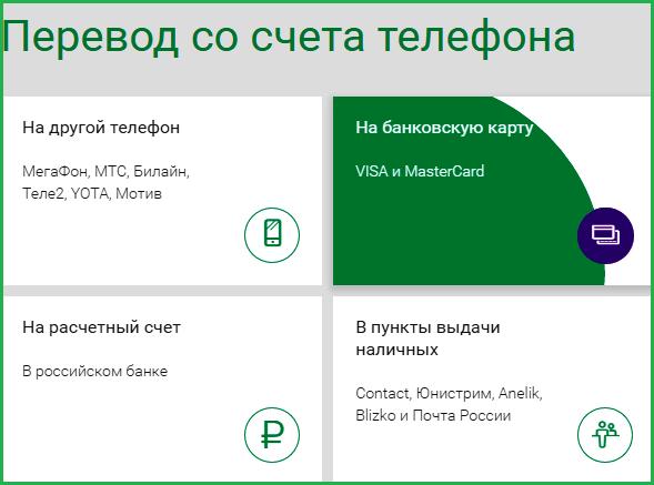 Перевод денег с Мегафона на карту Сбербанка через сайт