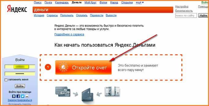 Создать кошелек в платежной системе Яндекс Деньги
